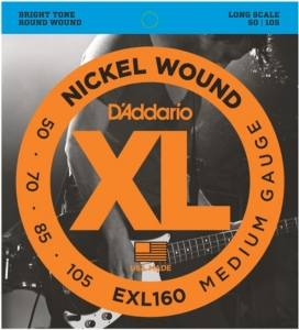 D`ADDARIO EXL160XL NICKEL WOUND Струны для бас-гитары Long Medium 50-105